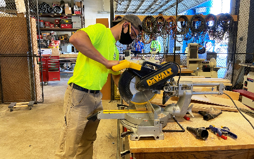 Lucas Rupert, carpentry senior (Avon) gets right to work on his first day of school