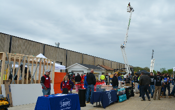 Vendors and students outside at the Building Trades Career Expo in 2018