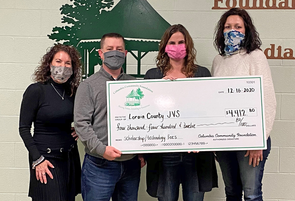 Left to right: Laura Bosworth, Columbia Community Foundation director; Shawn Ondrejko, Columbia Community Foundation director; Megan Champagne, JVS assistant principal; Mandie Andrews, Columbia Community Foundation director