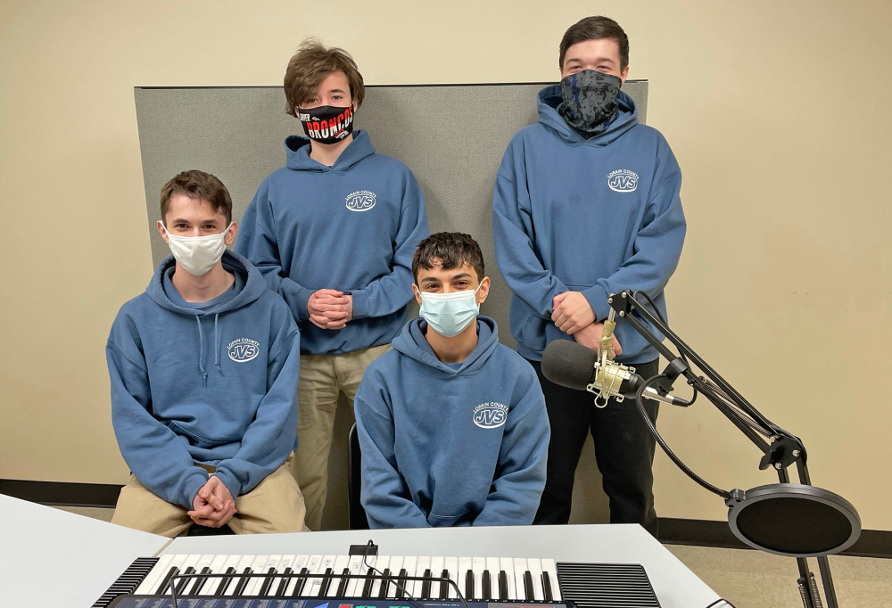 Junior web and graphic design podcast production team. Back row from left: Dawson Fries (Clearview), Chase Lee (Elyria) Front row from left: Zachary Hart (North Ridgeville), Damion Garcia (Clearview)
