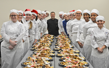 JVS junior Bakery and Pastry Arts students with Chef Chris Moore
