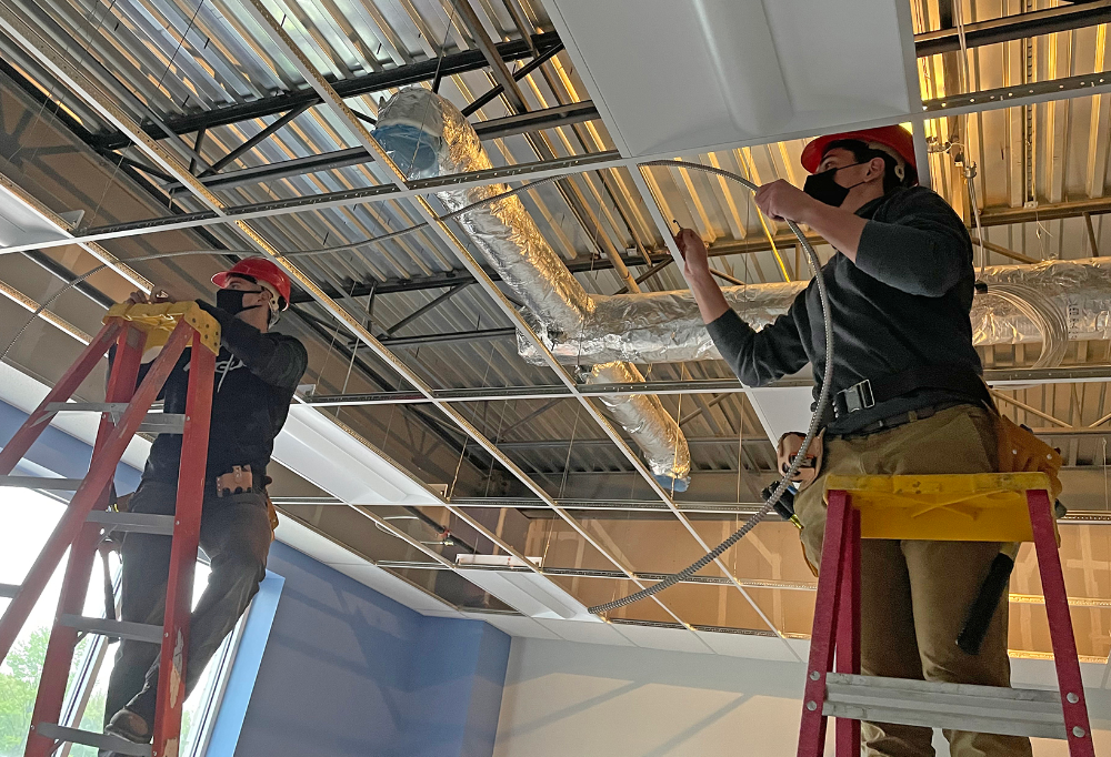 Industrial Electricity Students Work on New Oberlin Elementary School Building