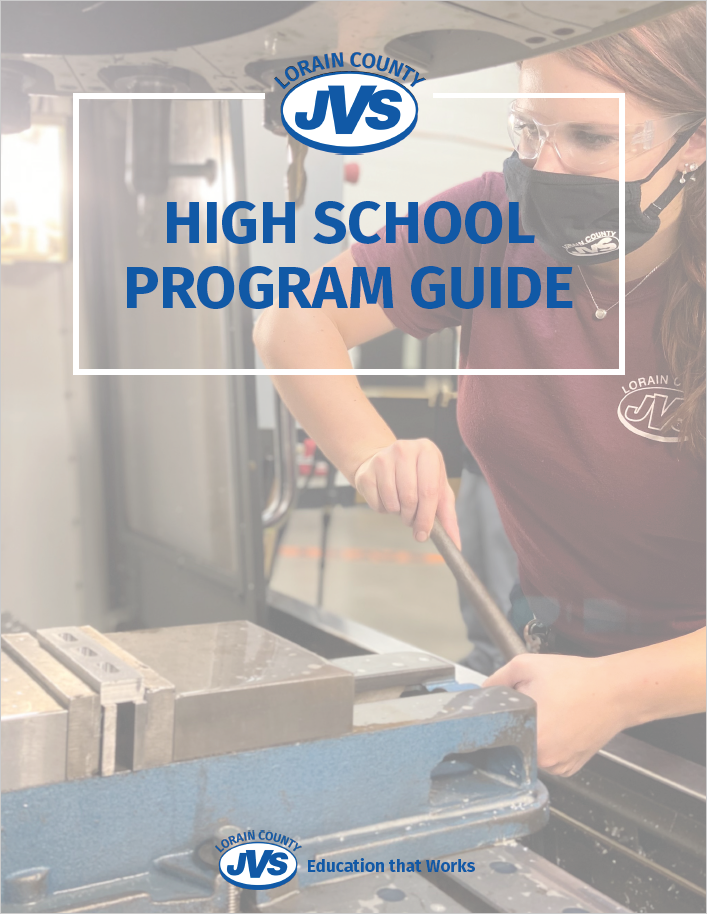 cover of Program Guide that includes one female student work on a modern machining tool