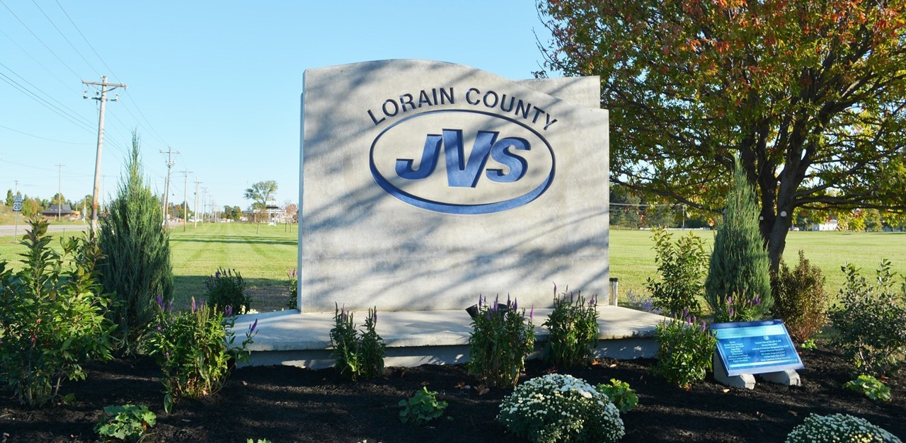 Outside road sign for Lorain County JVS