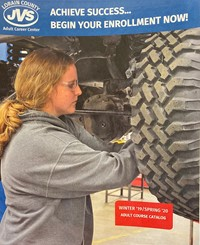 Winter 2019 - Spring 2020 Catalog Picture Of Cover- Female Working On Car